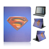 Hot Selling Product New Style Hero Superman Pattern Rotating Standing Leather Case For Apple iPad 234