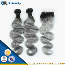 hot sale ! no tangle no shedding body wave 8-36inch silver grey ombre human brazilian hair with lace closure