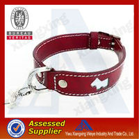 Bling bling cool leather dog training collar with metal buckle