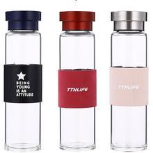 400ml unbreakable portable business glass water bottle