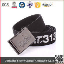 Alloy military buckle canvas belt with jacquard cotton webbing