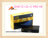 best quality v8 pro combo receiver v8 pro dvb s2/t2/c max dvb satellite receiver for europe and asia country