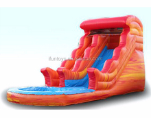 inflatable dry wet slide fire & ice /inflatable fire slide with pond