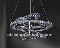 Modern LED Chrome Metal Clear Crystal Circle Pendant Lighting