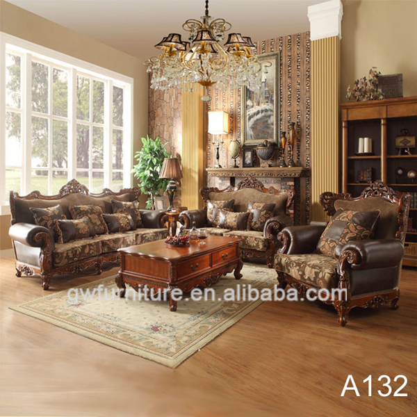 Living Room Luxury Dubai Antique Set Classic Wooden Sofa Furniture A91