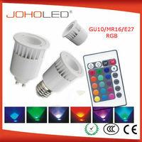 Ceramic e27 mr16 gu10 3W 5W remote control rgb led lamp DMX rgb led spotlight dicroica led rgb