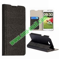 Wood Texture Leather Flip Stand Case for LG G Pro Lite Dual D686 Optimus G Pro with Card Slots
