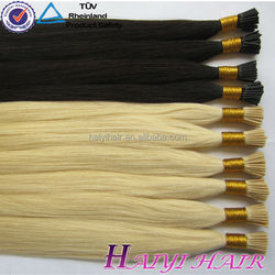 Free shedding factory price 100% human virgin Itlay Glue leshine hair company