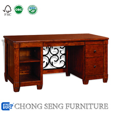 DK3002-Wooden house furniture office desk wrought iron and wood furniture