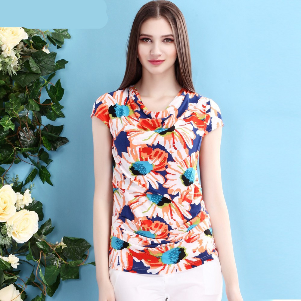 2015 newest summer women fancy blouse short sleeve floral for Ladies shirts and tops blouses