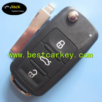 TopBest 3 buttons flip remote car key with id48 chip for vw key vw remote key 5K0 837 202AD