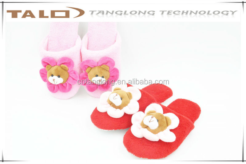 kids flower bear slippers,kids cartoon slippers,kids indoor slippers