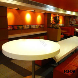 Pure white solid surface round table and chairs for fast food