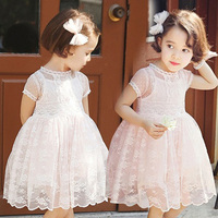 2015 summer latest dress girl's designs for kids lace children clothing o-neck party dress kids floral lace kids dress wholesale