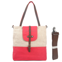 Fashion Cotton Canvas shopping bag with genuine leather trims