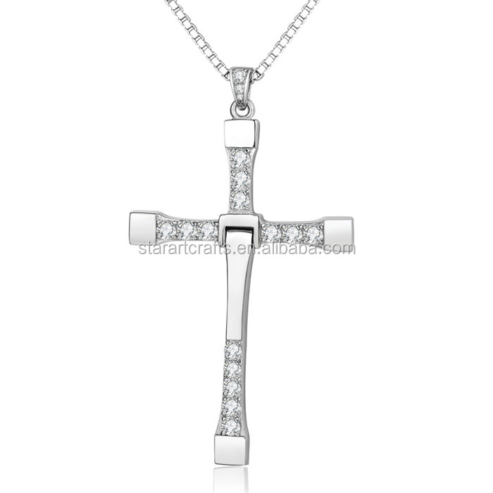 Fast and furious cross crystal pendant fashion stainless steel arf8676g aloadofball Choice Image