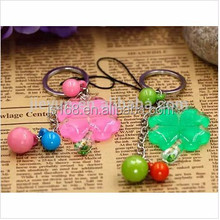 Lucky Four Leaf Clover plastic keychain for promotion gift