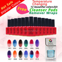 low quantity high quality OULAC colour changing uv gel, professional uv gel nails kits, free cleanser and remover gift