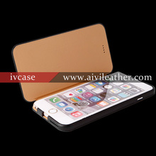black premium leather cell phone cover for iphone 6 plus case,flip case with microfibre lining for iphone 6 plus case