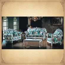 Blue Floral Uphostered Antique Fabric Sofa Furniture Foshan China Mediterranean Style Furniture