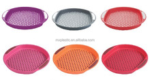 Plastic anti-skid food round serving tray with handle