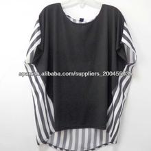 2014 El último diseño últimas Top Blusas Con Tela Chifon Damas casual camiseta a rayas