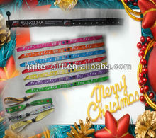 polyester woven wristbands with metal ring for festival
