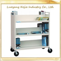 Two tier library moving book cart with 4 wheels handle/student book shelf library book cart