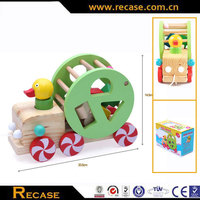 Funny string toy wood carved cars wooden pull string toy for baby