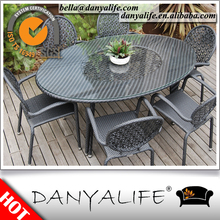 DYDS-D7623 Danyalife Polyrattan Wicker Indoor Outdoor Oval Table and Chairs