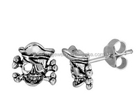 925 Sterling Silver cool skull earrings for men