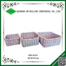 Hand woven decorative plastic rattan storage boxes