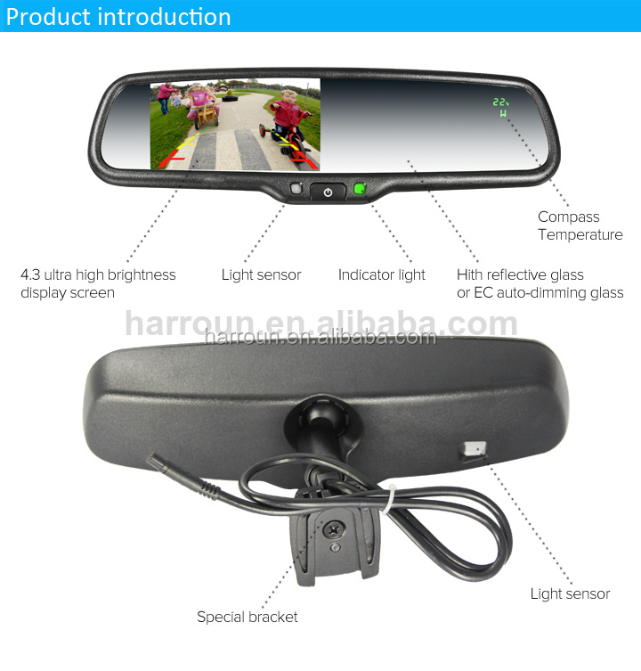 2014 newest car interior mirror with thermometer. Black Bedroom Furniture Sets. Home Design Ideas