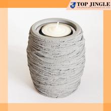 Cylinder shape grey concrete unique candle holder