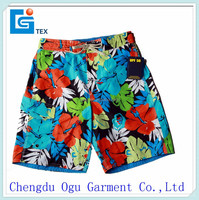 stylish quality 100% polyester wholesale elastic waist swimming shorts for men