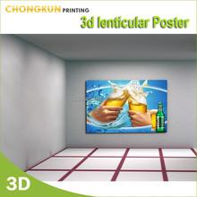 3d hot beer advertising lenticular poster