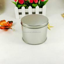 Eco-friendly plain silver small round candle tin box