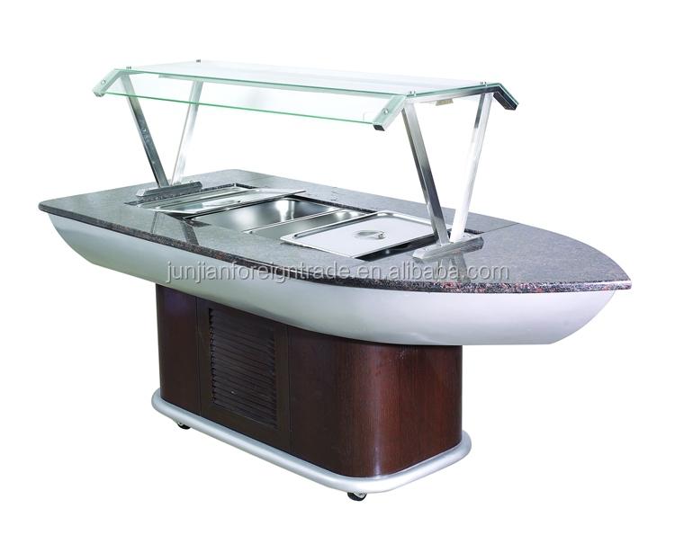 Fan Cooling Woodenmarble Salad Bar Restaurant Buffet Equipment