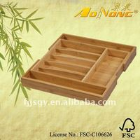 Expandable Bamboo Cutlery Box and Flatware Tray