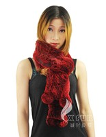 CX-S-03C Real Rex Rabbit Fur 2014 Wholesale Winter Hot Fashion Knitted Scarf