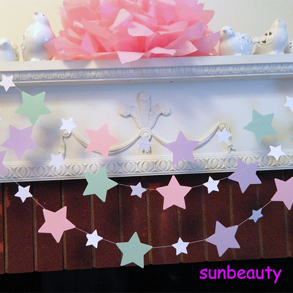 Pastel Color Pink Blue And Purple Star Paper Garland Party ...