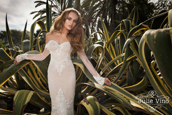 Julie vino 2015 spring anniversary long sleeve lace cheap wedding dresses online with long tail 908