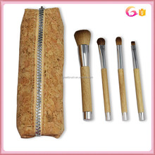Natural 4pc wood handle makeup brush set with real cork fabric hot dog case