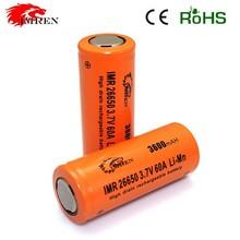 Hot selling Imren 26650 60A hot-selling IMREN IMR26650 3600mAh 60A 3.7V rechargeable battery for e-cigarette