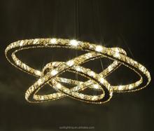 Three rings modern LED crystal pendant light lamp
