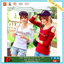 China supplier 2015 new product custom 100% cotton women v-neck embroidered t shirt