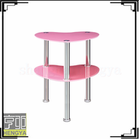Pink color heart shape glass coffee table