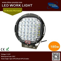 Factory direct 9 inch round motorcycle 185w 15000lm 12v auto car led headlight 4x4