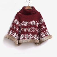 New fashion design rabbit fur Merry Chrismas ladies winter pullover sweater women's turtle neck cotton knitted poncho sale