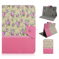 Pink Dot Rose Design Flip Stand PU Leather Cover Case For 7/10 inch Universal Tablet PC